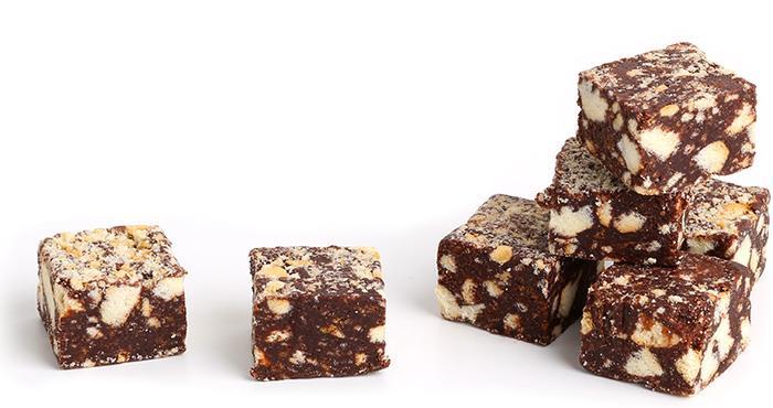 Cuadrados de salchichón de chocolate